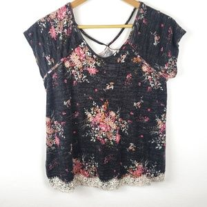 Rewind | Black Lace Floral Tee Shirt Large